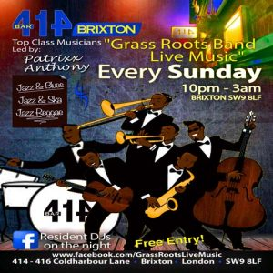 Grass Roots Live Music Sundays @ Club 414 Brixton - Flyer