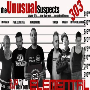 Elemental - The Unusual Suspects @ Club 414 Brixton - Flyer