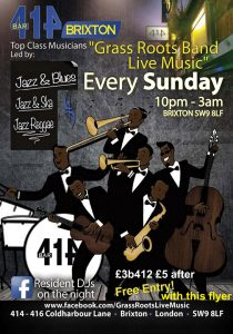 Grass Roots Live Music Sundays @ Club 414 Brixton - Flyer
