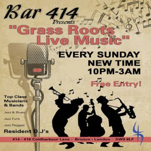 Grass Roots Live Music Sundays (Xmas Eve Special) @ Club 414 Brixton - Flyer