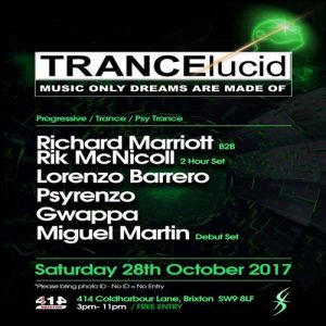 TRANCElucid - October (Day Party) @ Club 414 Brixton - Flyer