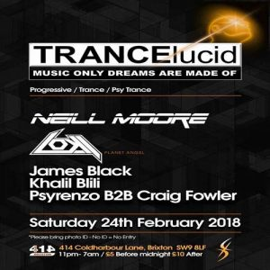 TRANCElucid: February with Neill Moore/Loki/James Black + more. @ Club 414 Brixton - Flyer