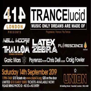 The Club 414 Road Show presents (TRANCElucid) @ Club 414 Brixton - Flyer