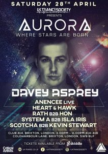 UK Trance Society Presents-AURORA @ Club 414 Brixton - Flyer