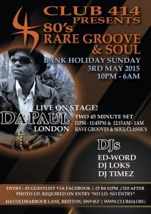 Club 414 presents *80's Rare Groove & Soul* @ Club 414 Brixton - Flyer