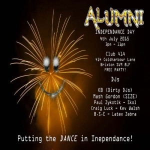 Alumni - Independence Day! @ Club 414 Brixton - Flyer