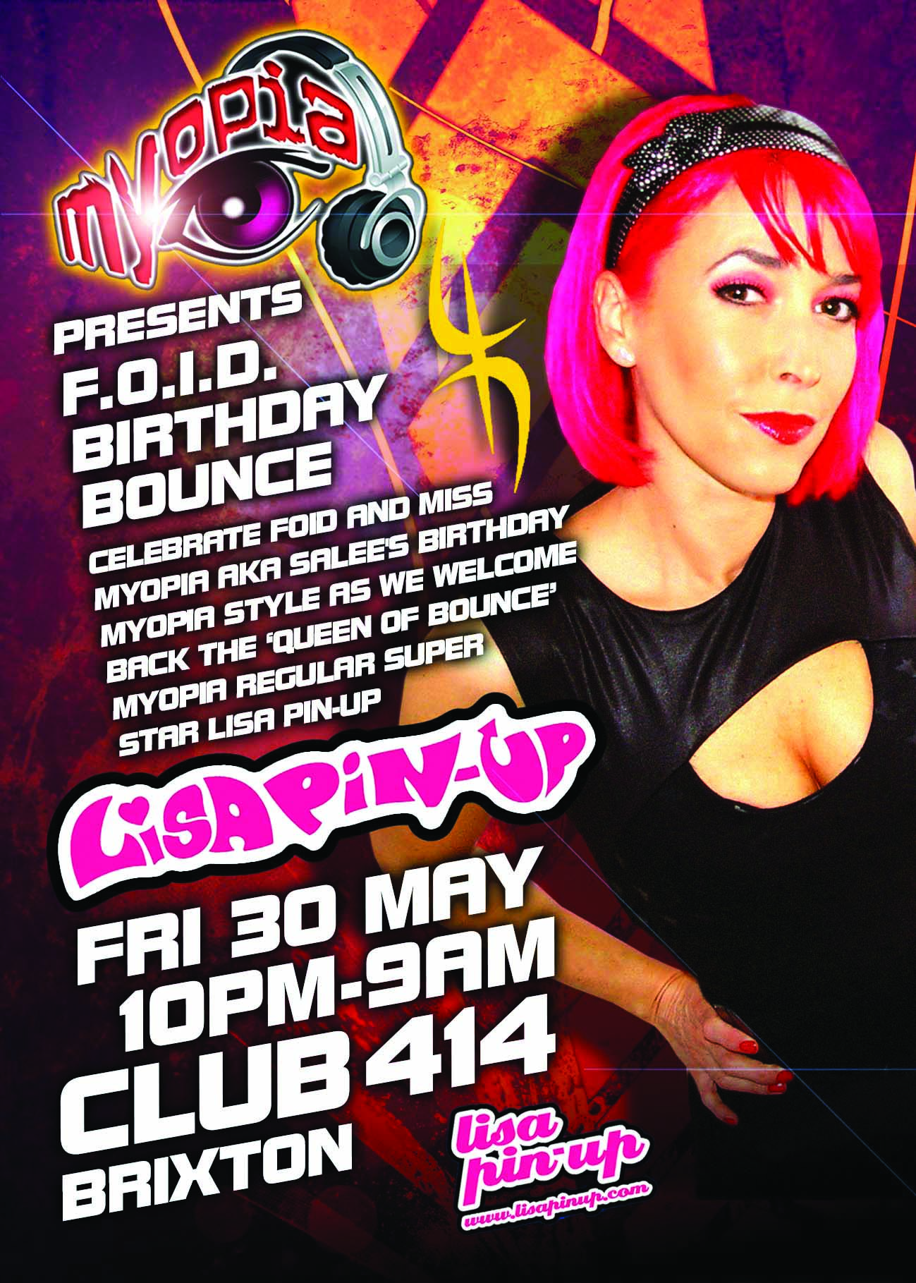 MYOPIA FOID's BIRTHDAY BOUNCE WITH LISA PIN UP